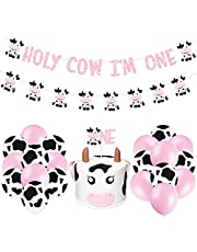 Cow Party Decorations Holy Cow I'M One Party Banner Cake Topper and Cow Themed Latex Balloons for Cow Party Supplies Kids Birthday Party Decorations