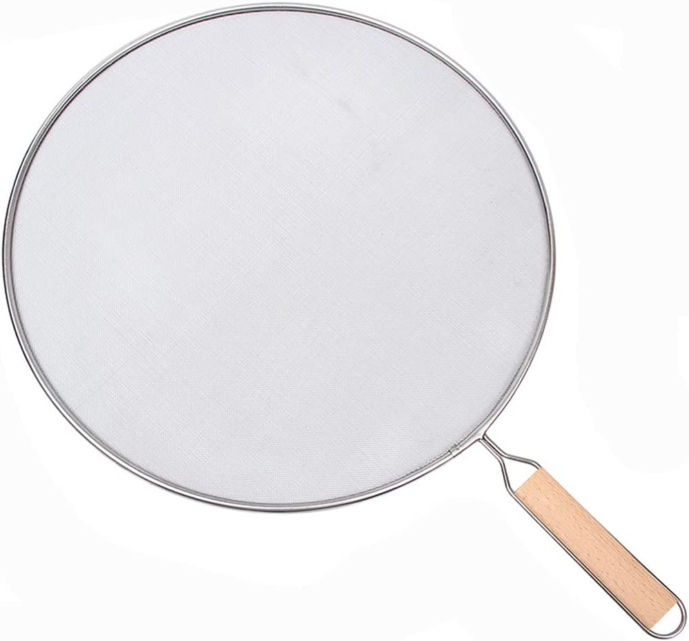 LARATH 10 Inch Grease Splatter Screen Guard Stainless Steel Splash Screen Protector Guards with Handle Splash-Proof Frying Pan Mesh Pot Lid Cover for Kitchen Cooking Gadgets