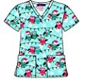 Christmas Scrub Tops Holiday Prints Sizes XS-4XL Medical Nursing NWT