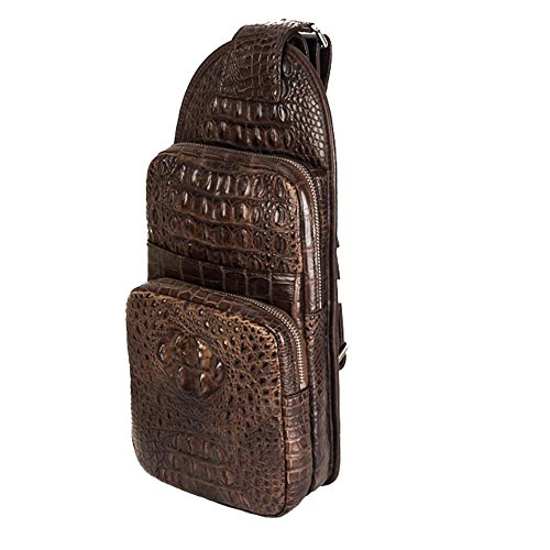 Rossie Viren Crocodile Leather Sling Backpack Day Pack Purse Chest bag Cross body Messenger Bags