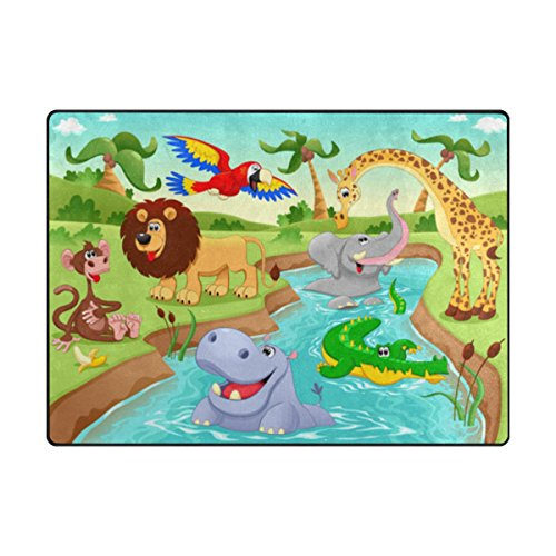 My Little Nest Cartoon African Jungle Animals Kids Play Mat Baby Crawling Carpet Non Slip Soft Educational Area Rug for Living Room Bedroom Classroom 4' x 5'3''