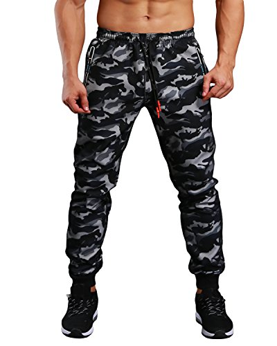 Camo Medium Mens Pants - EKLENTSON Men's Sweatpants with Zipper Pockets Camo Military Pants Running Track Pant Tapered Black