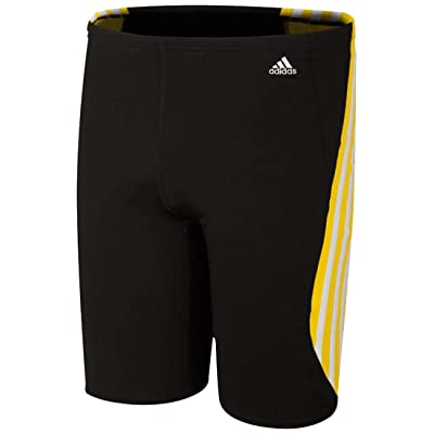 Adidas Men's Solid Splice W/ Stripe Contrast Jammer, 34, Black/Yellow