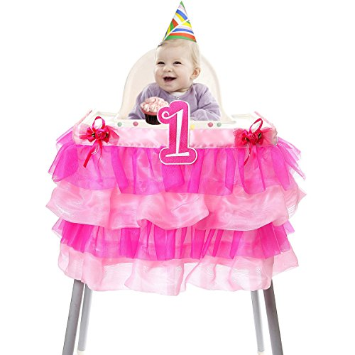 Hbbmagic Baby 1St Birthday Deluxe High Chair Tutu Tulle Skirt Decoration Party Supplies Centerpiece  37   Multiple Colors  Rose Pink