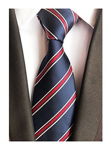 Blue Stripe Necktie (Men's Repp Navy Blue Red White Fine Striped Silk Tie Daily Dress Meeting Necktie)