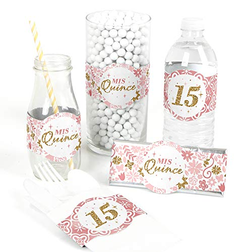 Mis Quince Anos - DIY Party Supplies - Quinceanera Sweet 15 Birthday Party DIY Wrapper Favors and Decorations - Set of 15]()
