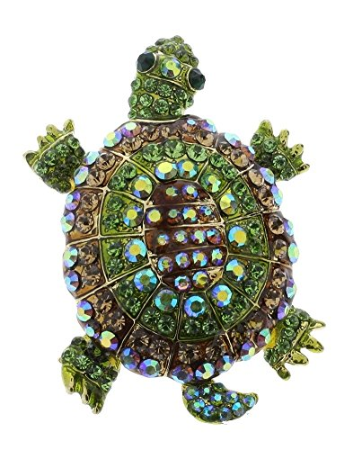 - Tan and Green Turtle Rhinestone Lapel Pin Brooch Scarf Clips Corsage Jewelry for Lady Broach