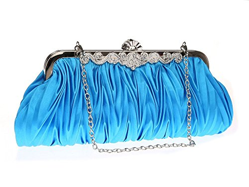 BESA Wedding Clutch Lantra Party Satin Handbag Shoulder with Sky Evening and 2 Chains CW0002 Women's Small Blue Brown for Bag dSRxx7