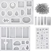Hestya 8 Pieces Resin Casting Molds Assorted Styles Silicone Resin Molds Set with 100 Pieces Screw Eye Pins for Pendant Jewelry Making DIY