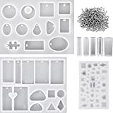 Arts & Crafts : Hestya 8 Pieces Resin Casting Molds Assorted Styles Silicone Resin Molds Set with 100 Pieces Screw Eye Pins for Pendant Jewelry Making DIY