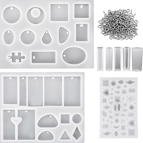 Hestya 8 Pieces Resin Casting Molds Assorted Styles Silicone Resin Molds Set with 100 Pieces Screw Eye Pins for Pendant Jewelry Making (Epoxy Mold)