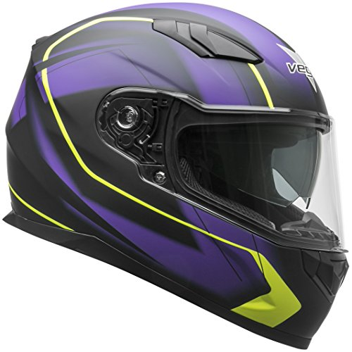 Vega Helmets 60030-463 RS1 Street Sunshield Motorcycle Helmet DOT Certified Full Facerbike Helmet for Cruisers Sports Street Bike Scooter Touring Moped, Bluetooth Comp (Purple Slinger Graphic, Medium)