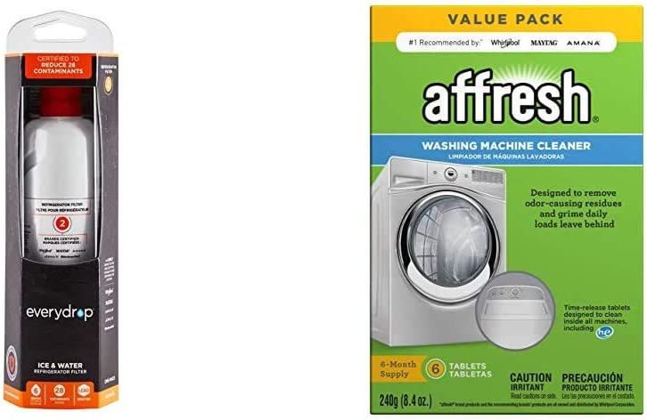 EveryDrop by Whirlpool Whirlpool Refrigerator Water Filter 2, EDR2RXD1, Pack of 1 & Affresh W10501250 Washing Machine Cleaner, 6 Tablets: Cleans Front Load and Top Load Washers, Including HE