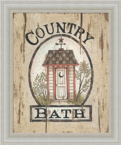 Country Bath Outhouse by Linda Spivey Primitive Sign 10x12 in Art Print Framed Picture Linda Spivey Country Framed Picture
