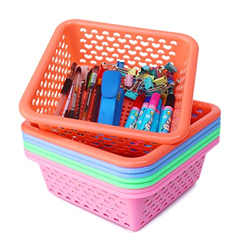 Square Small Plastic Storage Baskets Organizer,Set of 8 in 4 Assorted Colors,Pink/Green/Blue/Orange,Honla