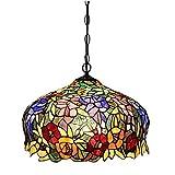 FUMAT Tiffany Pendant Lights E26 LED Stained Glass Hanging Light Fixtures 16'' Rose Chandelier Lighting 110V Ceiling Pendant Lamp