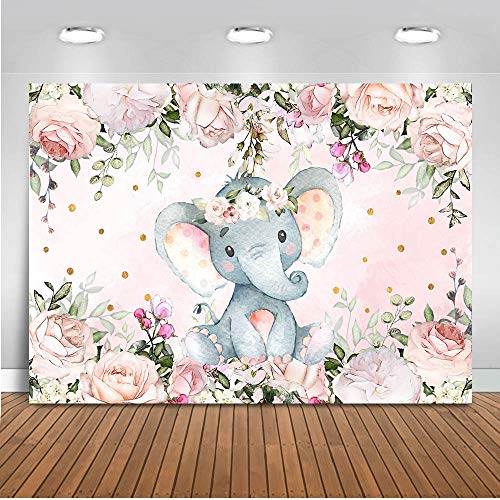 Pink Elephant Baby Shower Ideas (Mocsicka Elephant Baby Shower Backdrop 7x5ft Gender Reveal Cute Elephant Floral Photo Booth Backdrops Elephant Birthday for Girl Photography)