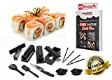 Sushi Making Kit - 15-Piece DIY Sushi Set with Chopsticks, Sauce Dishes, Sushi Knife, Sushi Maker With Step By Step Instructions & Recipe Book - By Masscotta