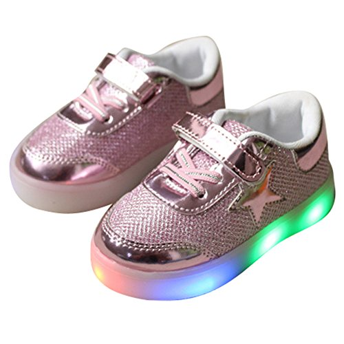 New Romatics Enfant Kids Breather Niños Zapatos Led Light Sport Girls Zapatillas Rose 29 Rosado