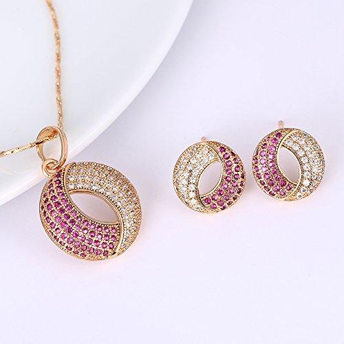 Conjunto de joyas, pendientes y collar de plata chapada en oro para mujer, de la marca XUPING
