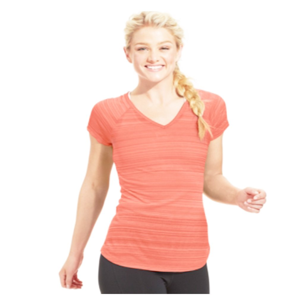 Bright Orange V-Neck Burnout T-Shirt