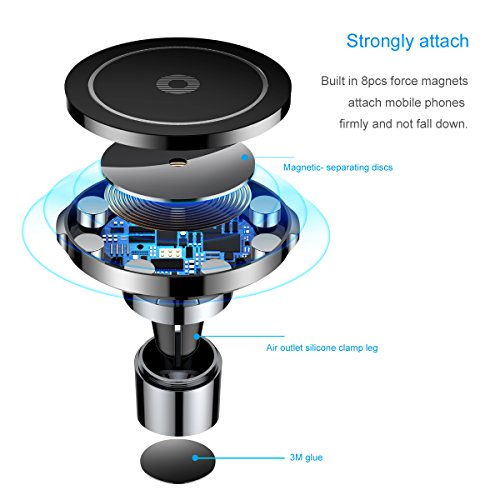 2018 Car Charger Phone Mount, Baseus Universal Air Vent Magnetic Phone Car Mount Holder Car Phone Holder Fast Wireless Chargers QI Wireless Charging Pad Quick charge for iPhone X 8 8 Plus, Galaxy