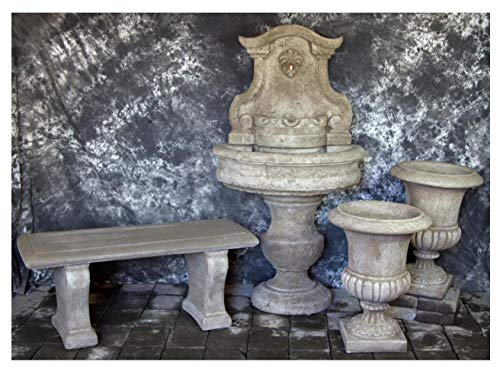 Fleur de Lis Garden Ornaments LLC Palermo Wall Fountain with Italian Palazzo Urns and Bench Package Number 1045 ()