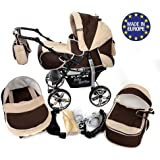 Classic 3-in-1 Travel System with 4 STATIC (FIXED) WHEELS incl. Baby Pram, Car Seat, Pushchair & Accessories, Brown & Beige