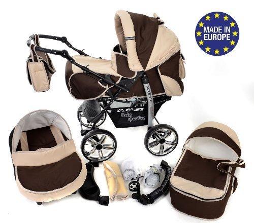 Si/ège Auto Landau pour b/éb/é Poussette Kamil incluant sac /à langer et protection pluie et moustique Syst/ème 3en1, bronze, beige ROUES NON PIVOTABLES Syst/ème 3en1
