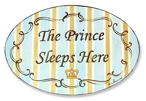 Stupell Home Décor The Prince Sleeps Here Blue And Brown Oval Wall Plaque, 10 x 0.5 x 15, Proudly Made in - Prince Hand Painted Wall Hanging