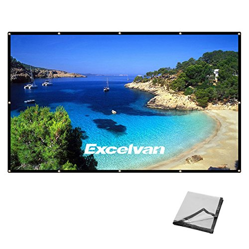 Excelvan High Contrast Gray Rear Projection Collapsible PVC HD 4K Portable Projector Screen with Hanging Hole Grommets for Home Indoor and Outdoor Movie World Club Party Rear Projection Surface Video
