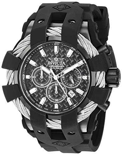 Men's 'Bolt' Quartz Stainless Steel and Silicone Casual Watch, Color:Black (Model: ) - Invicta 23863