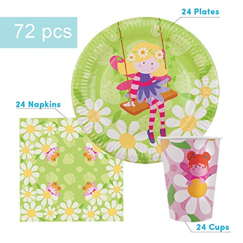 Fairy Party Supplies Set for 24 Guests - Includes 72 pcs Total: 24 Cups, 24 Plates, 24 Napkins