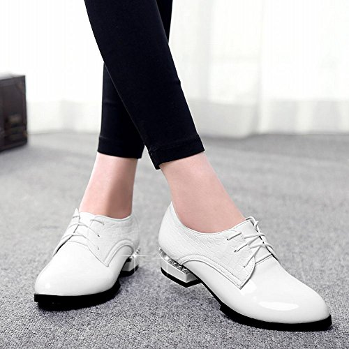 Shoes snakeskin Women's Faux White Latasa Oxfords Lace Fashion up Chunky Hpqxt8