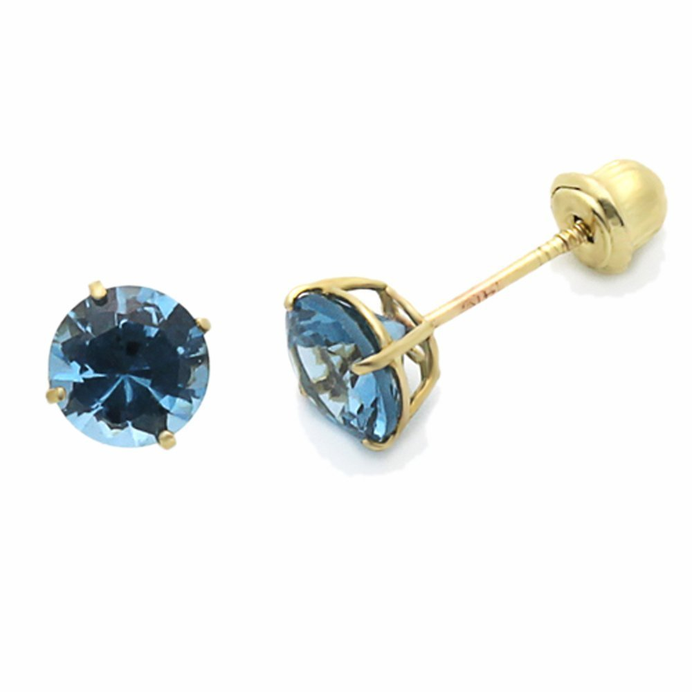 14K Yellow Gold Round 5mm CZ Screwback Stud Earrings For Kids /& Children Choice of 12 Colors