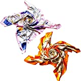 2 PCS Women Large Satin Square Silk Feeling Hair Scarf