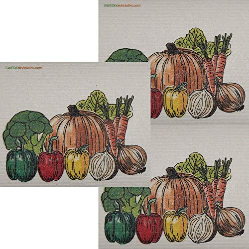 Fresh Vegetables Set of 3 Each Swedish Dishcloths | ECO Friendly Absorbent Cleaning Cloth | Reusable Cleaning Wipes