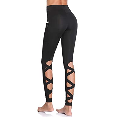 2ef63859ffde1 Joyshaper Strappy Leggings with Pockets for Women Girl High Waist Cutout  Trousers Running Workout Pants (