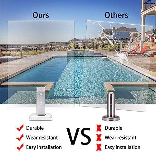 蓋付きのガラスクランプ、ステンレススチール角のガラス栓 - 耐久性と耐摩耗、容易なインストール - スイミングプール、強化ガラス、裏庭のために