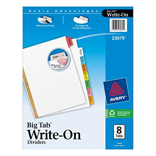 Avery Write Dividers 8 Tabs 23079