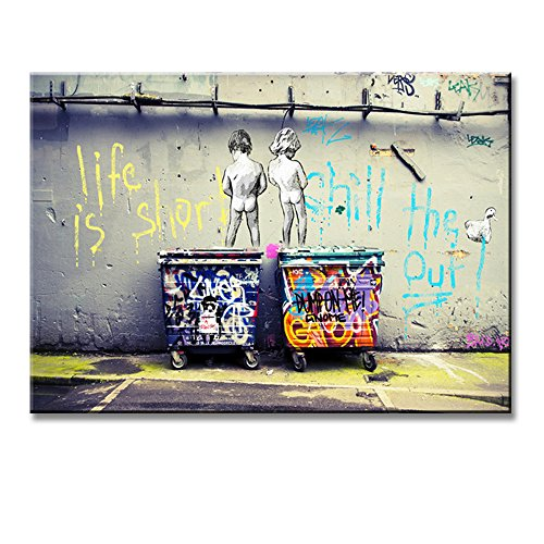 Banksy Life Is Short Chill The Duck Out-Kids With Dustbin Street Wall Artworks Print on Canvas ()