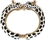 Kenneth Jay Lane Black & White Giraffe Enamel Bypass Bangle Bracelet
