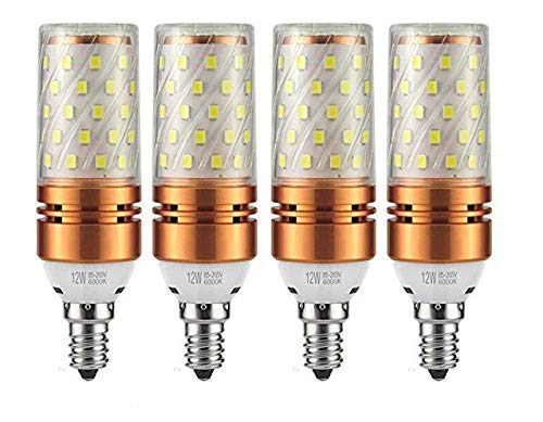 CTKcom 12W E14 LED Bulb Candelabra LED Light Bulb(4 Pack)- E14 Base T10 LED Corn Bulb,100 Watt Light Bulb Equivalent,Warm White 3000K LED Chandelier Bulb,AC85-265V 1200LM LED Lights Bright White(Gold)