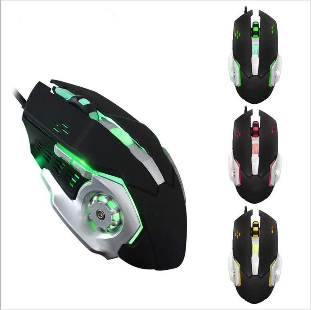 LED Light MYXMY Wired Gaming Mouse Macro Definition Esports Mouse Wired Gaming Mouse Freely Adjustable Four-Color Glare Office Dual Energy Saving Modes