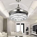 Cheap COLORLED 3-Circle Diamond Crystal Ceiling Fans with Lights Retractable 4-Blade Remote Control Lights-42 inch Fans Chandelier with LED Lights -for Indoor, Outdoor, Living ,Dining Room, Bedroom -Chorme