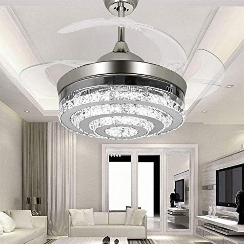 COLORLED 3-Circle Diamond Crystal Ceiling Fans with Lights Retractable 4-Blade Remote Control Lights-42 inch Fans Chandelier with LED Lights -for Indoor, Outdoor, Living,Dining Room, Bedroom -Chrome