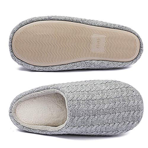 Image of iEasey Memory Foam House Slippers Winter Warm Knit Fleece Anti Skid Mule Clog Slippers