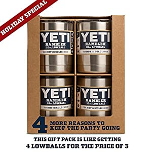 YETI Rambler Lowball 10 oz Stainless Steel Cup with Lid 4 Pack