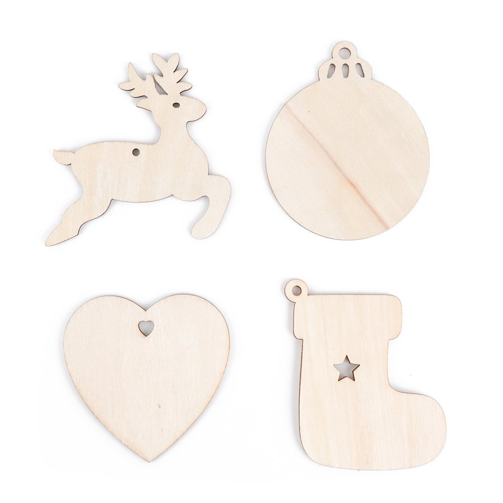 Wooden color, Christmas Ball Meelino 10PCS Christmas Wooden Bauble Hanging Xmas Tree Blank Decorations DIY Crafts Ornaments For Parties Wedding Valentines Day Gift