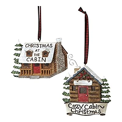 """Log Cabin Ornament - 2 Assorted: """"Cozy Cabin Christmas"""" and """"Christmas At the Cabin"""""""